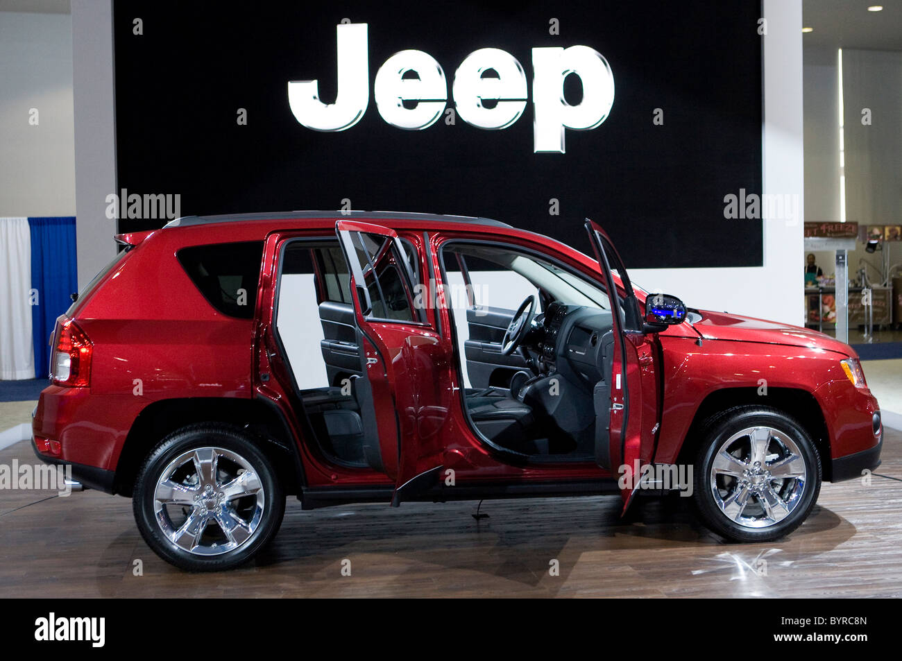Dodge, Chrysler, Jeep, and Fiat vehicles at the Washington Auto Show. - Stock Image