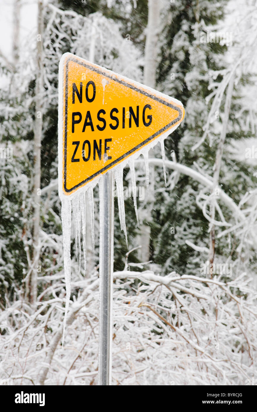 ice covered street sign that says, 'no passing zone'; minnesota, united states of america - Stock Image