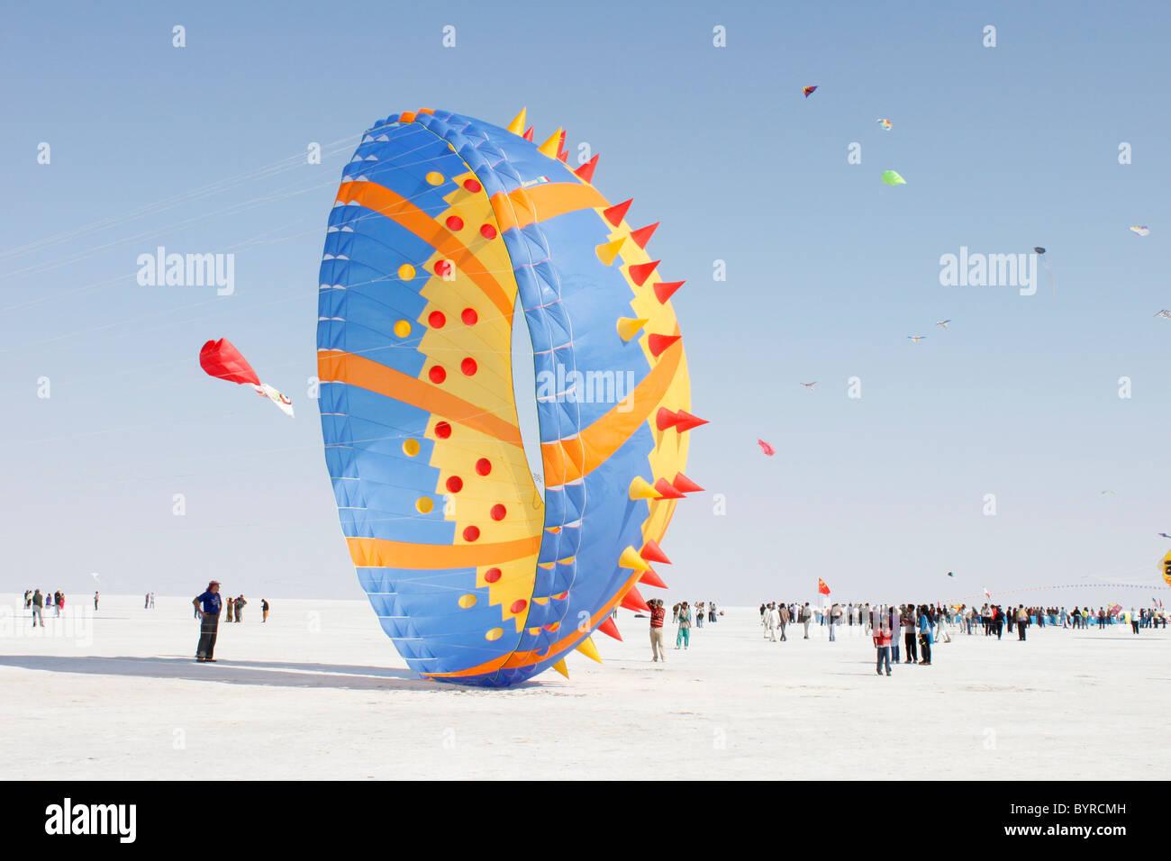 International kite flying festival in white rann of kutch, gujarat,india - Stock Image