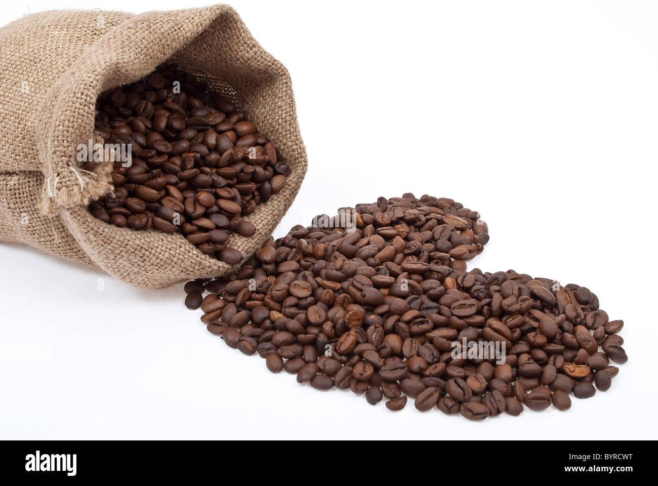 Burlap sack with coffee heart - Stock Image