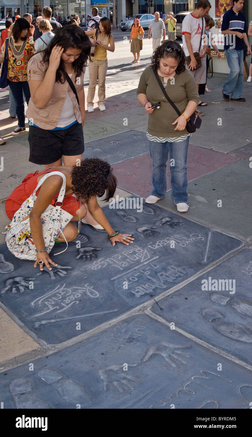 Hand- and footprints of Harry Potter actors at Chinese Theatre, Hollywood, California, USA - Stock Image