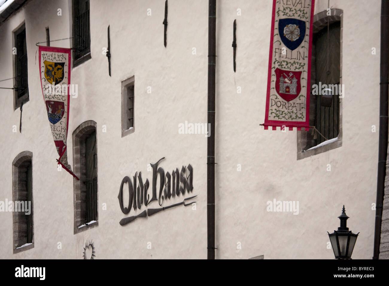 Olds Hansa Medieval Restaurant, Old Town Tallinn, Estonia - Stock Image