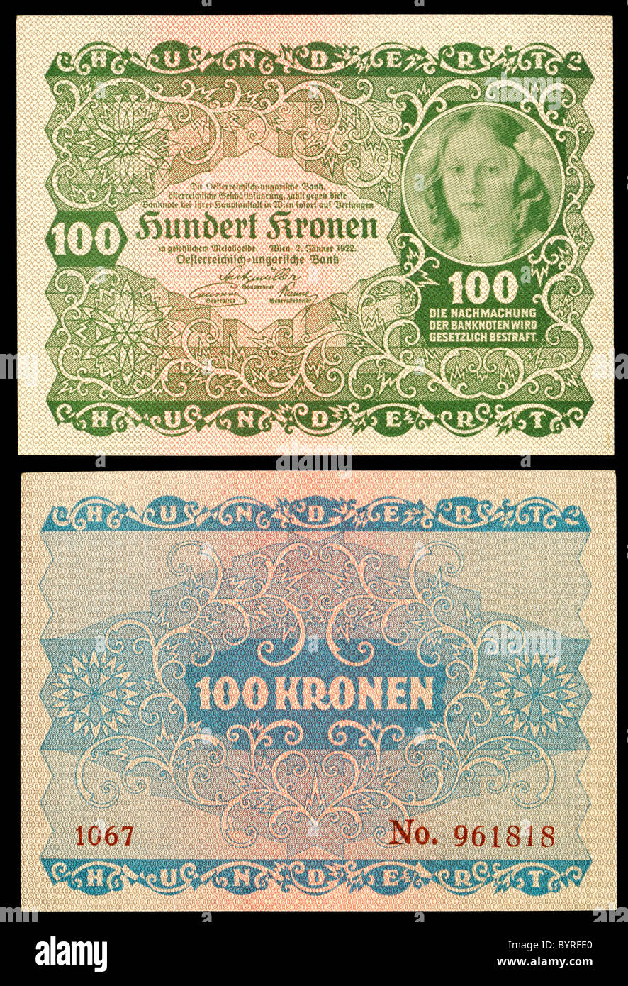 Austro-Hungarian 100 Kronen / Crown note from 1922 - Stock Image