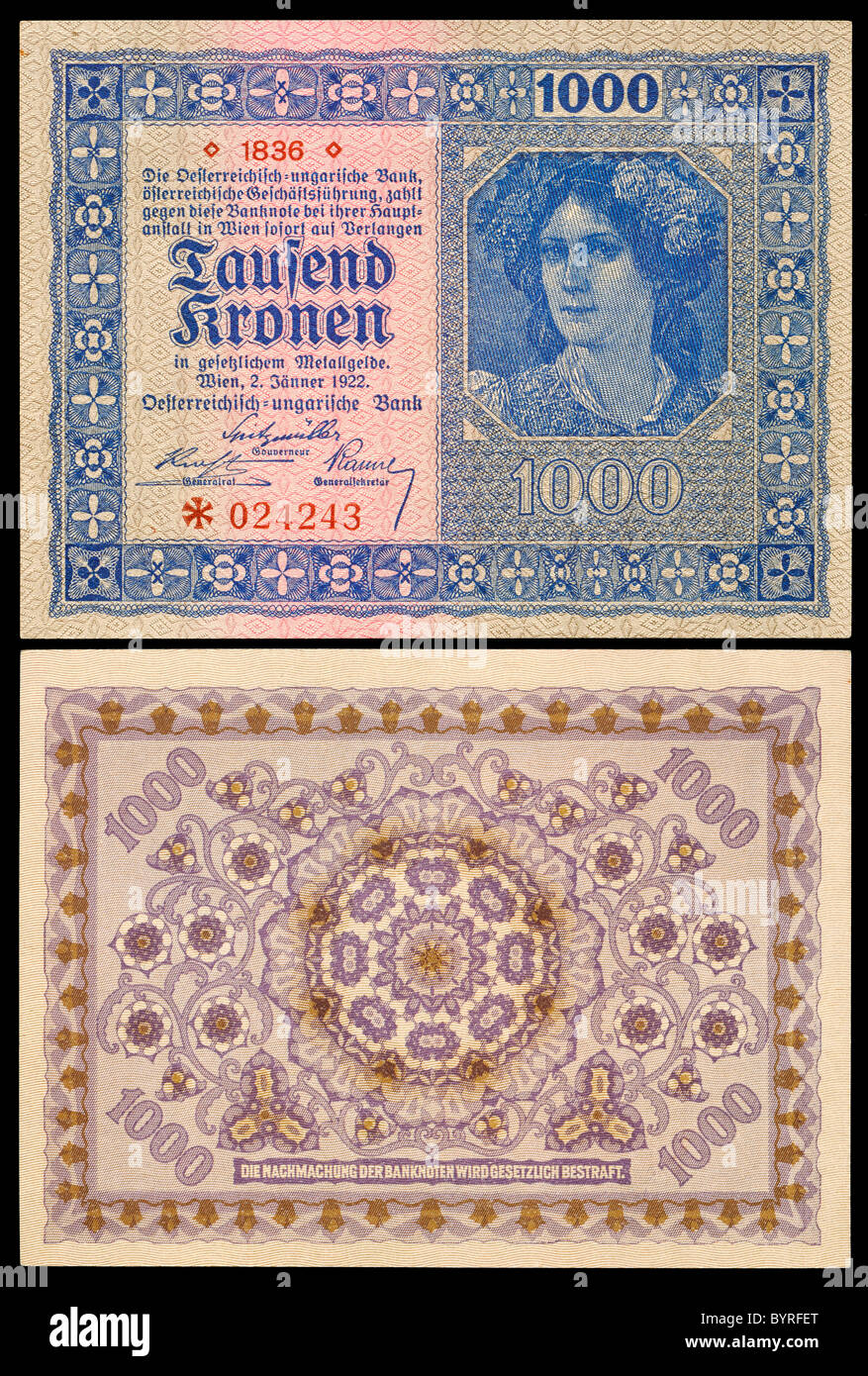 Austro-Hungarian 1000 Kronen / Crown note from 1922 - Stock Image