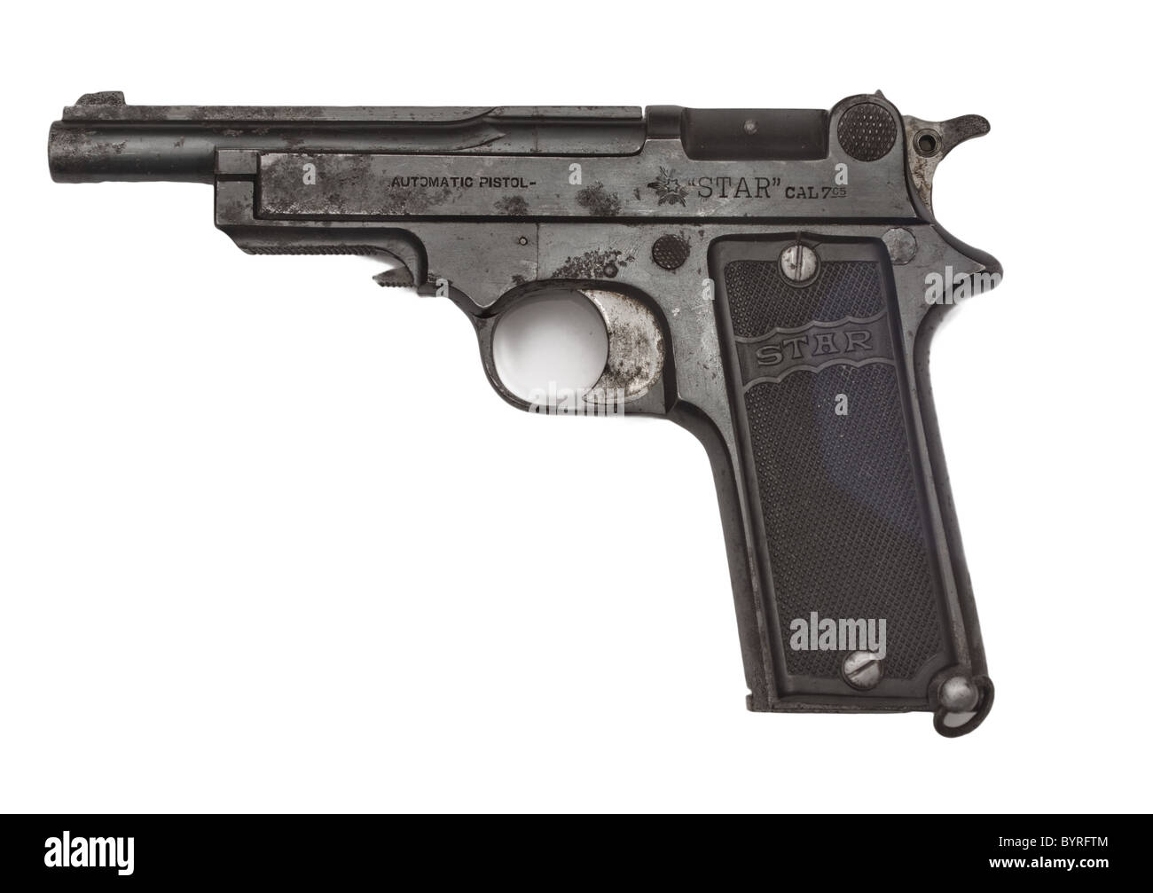 Pistol 'Star' model  1919, 6.35mm  used in the Spanish civil War by the republicans - Stock Image