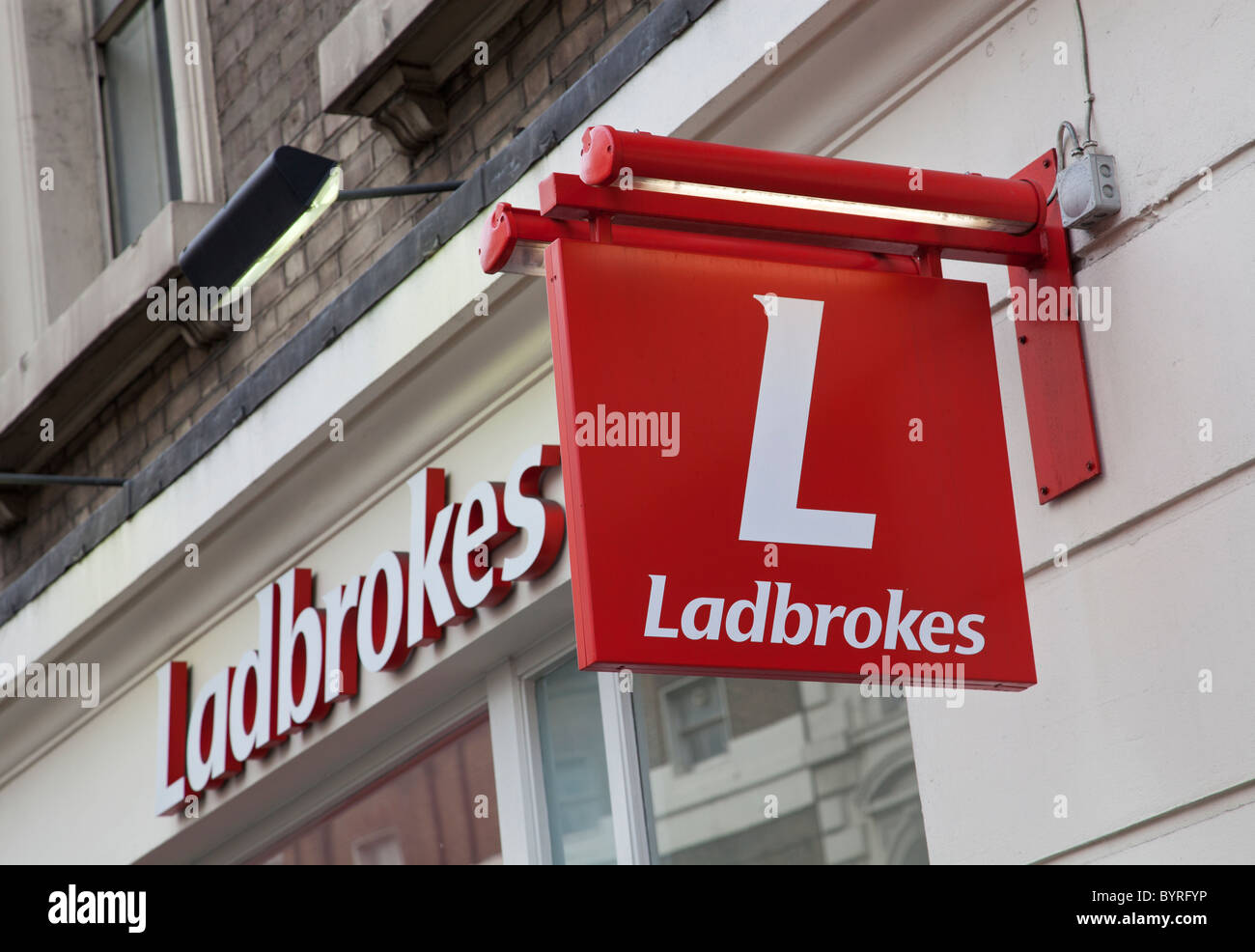 Ladbrokes betting shop, London, United Kingdom - Stock Image