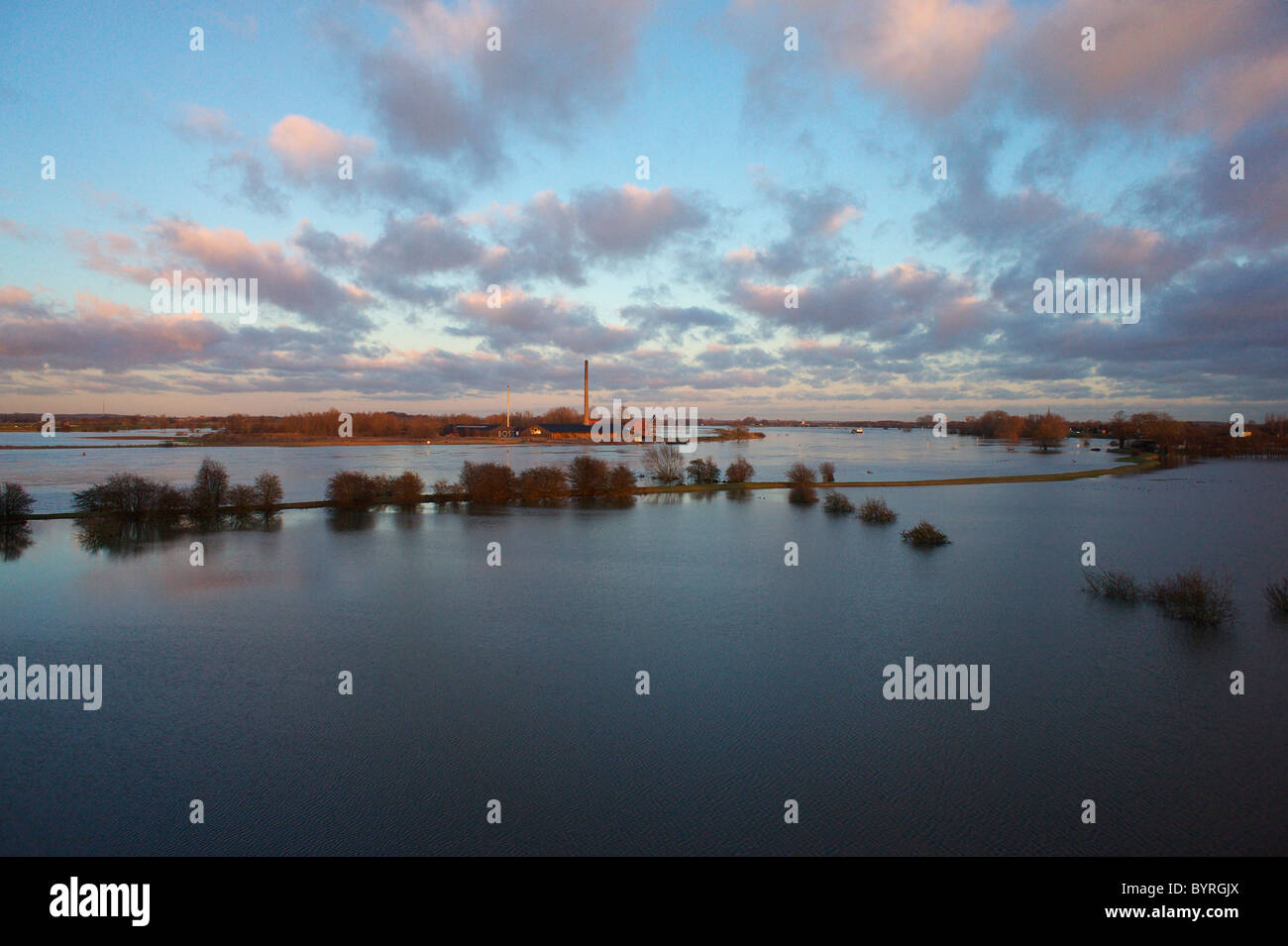 The river Lek in flood near Beusichem, The Netherlands - Stock Image