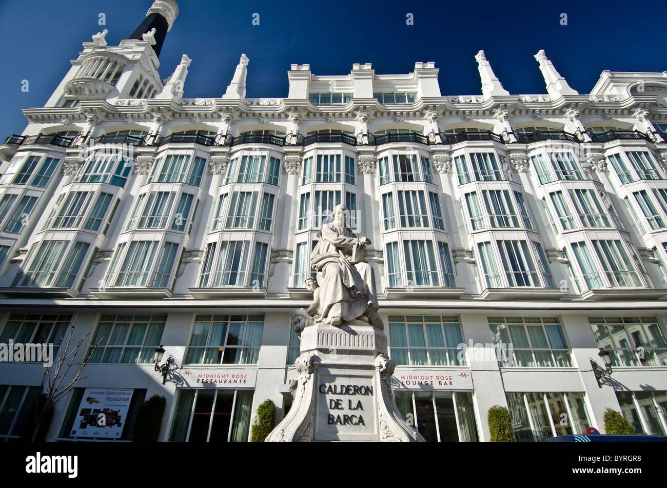 Statue of Pedro Calderon de la Barca at the Plaza de Santa Ana in Madrid - Stock Image