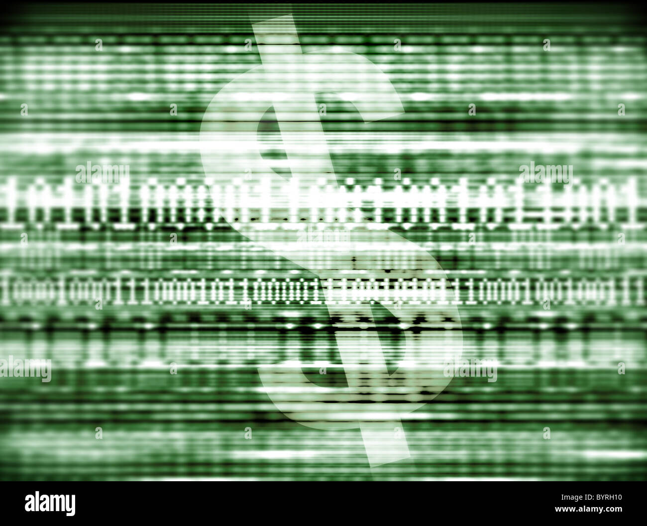 A dollar symbol and binary code or data streams representing online