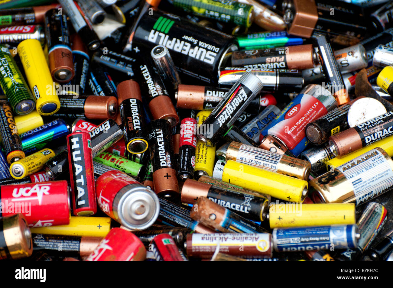 Close up shot of some discarded batteries - Stock Image