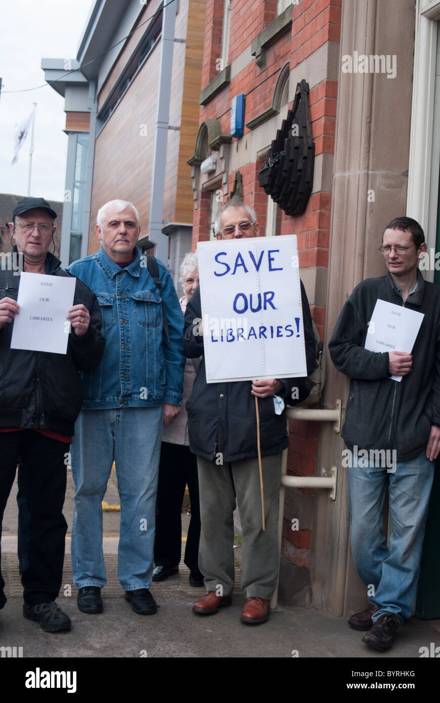 Demonstration outside Carlton Library, Nottingham, against Government cuts. - Stock Image