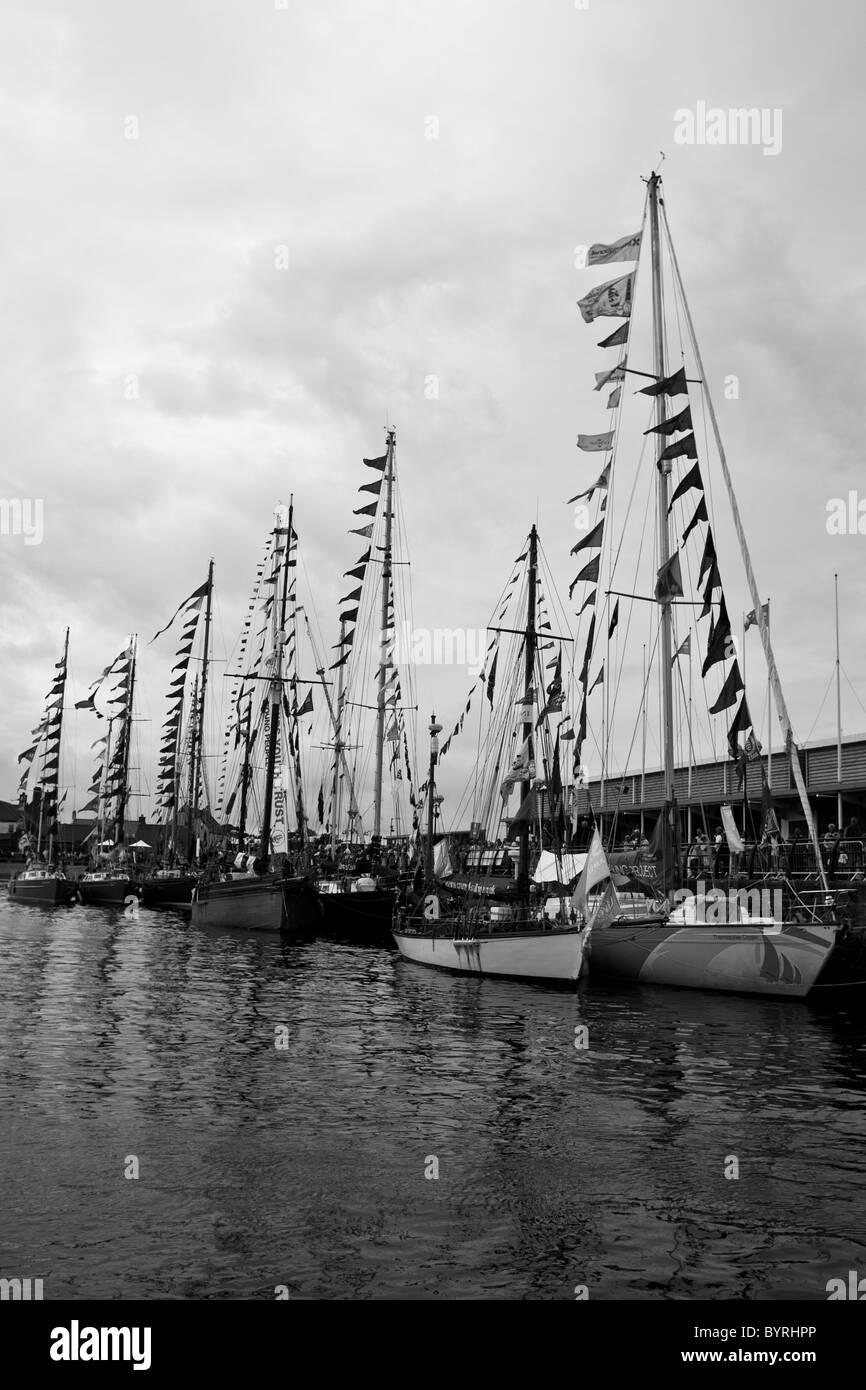 Tallships in Hartlepool Marina, UK, during the 2010 Tallships Race. - Stock Image