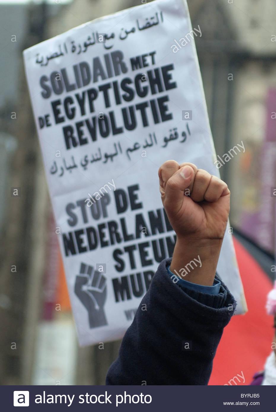 Amsterdam The Netherlands 5-2-2011: Anti Mubarak demo on the Dam. - Stock Image