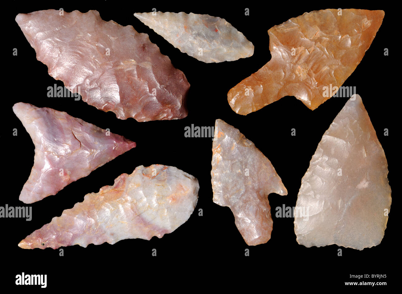 Neolithic flint Arrowheads (c400BC) from the Sahara Dessert - Stock Image