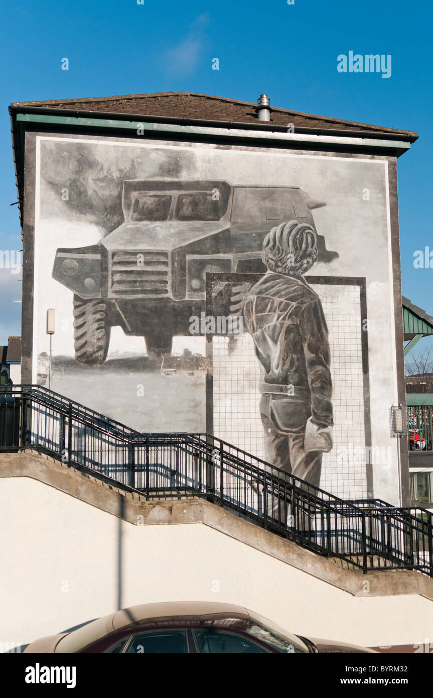 Mural commemorating the riots in Derry in the 1970s - Stock Image