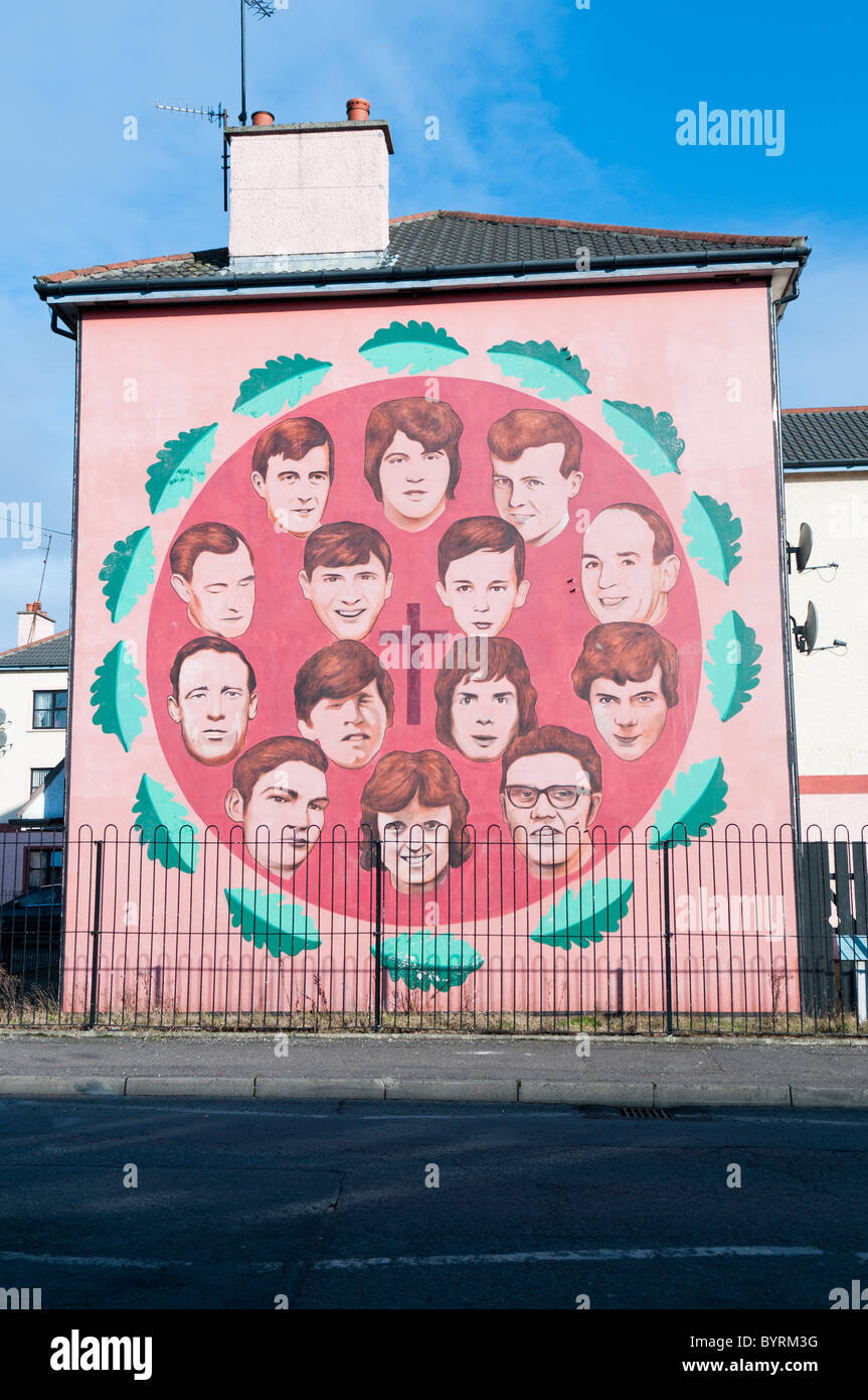 Mural commemorating the victims of Bloody Sunday - Stock Image