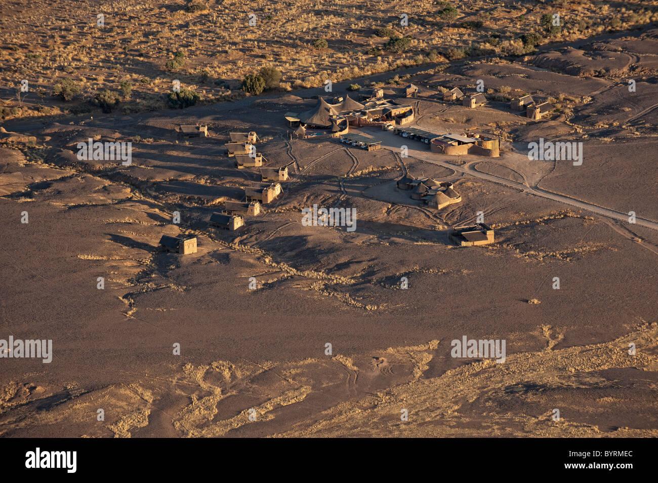 Kulala Desert Lodge aerial view from hot air balloon, Namib-Naukluft Park, central Namibia. - Stock Image