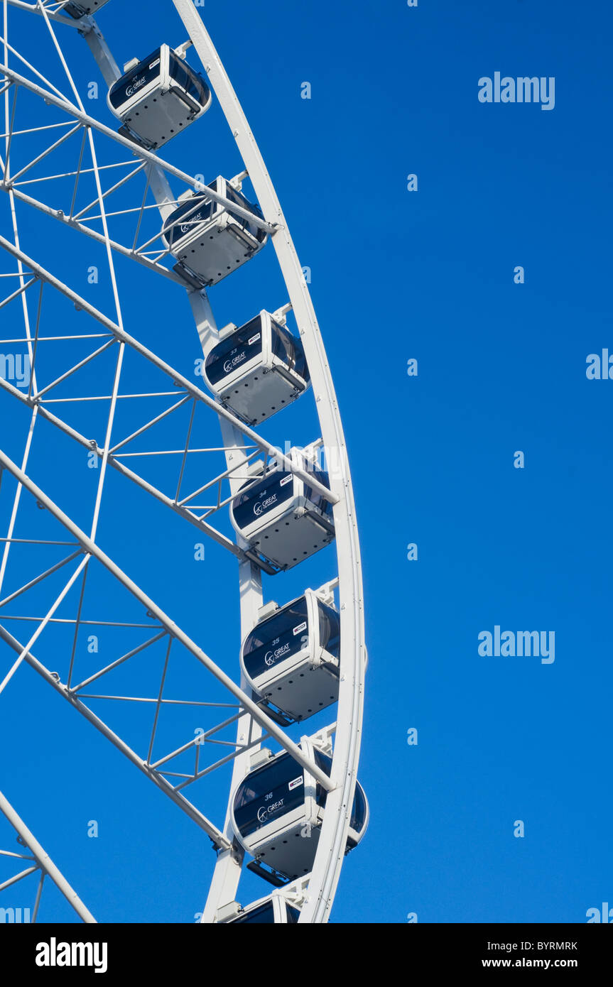 The Manchester Wheel tourist attraction in Exchange Square, Manchester city center, England, UK - Stock Image