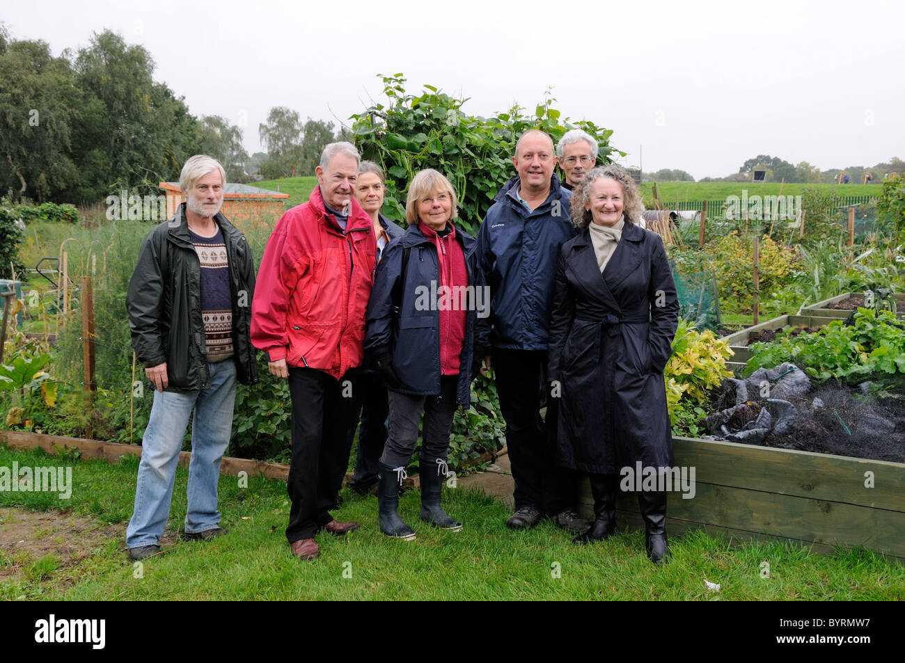 Jenny Jones Green GLA Member with group of people at the Fortis Green Allotment site London England UK - Stock Image