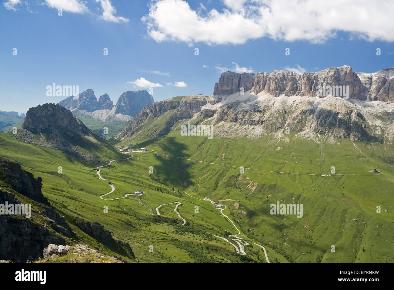 summer view of Pordoi pass dominated by Sella mount, Trentino, Italy - Stock Image