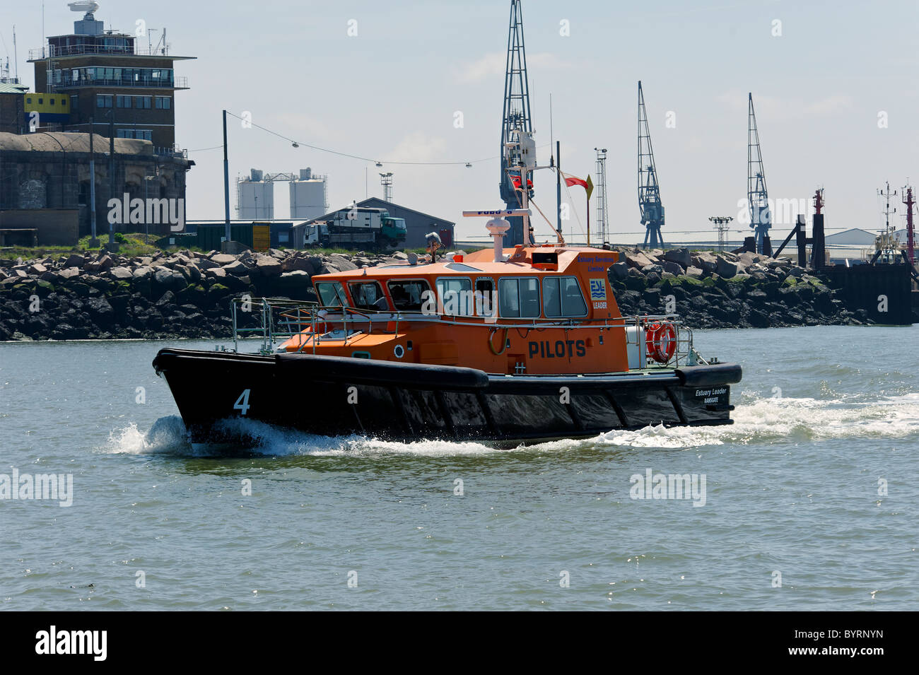 Ramsgate Pilots Boat on the River Medway near Chatham Historic Dockyards - Stock Image