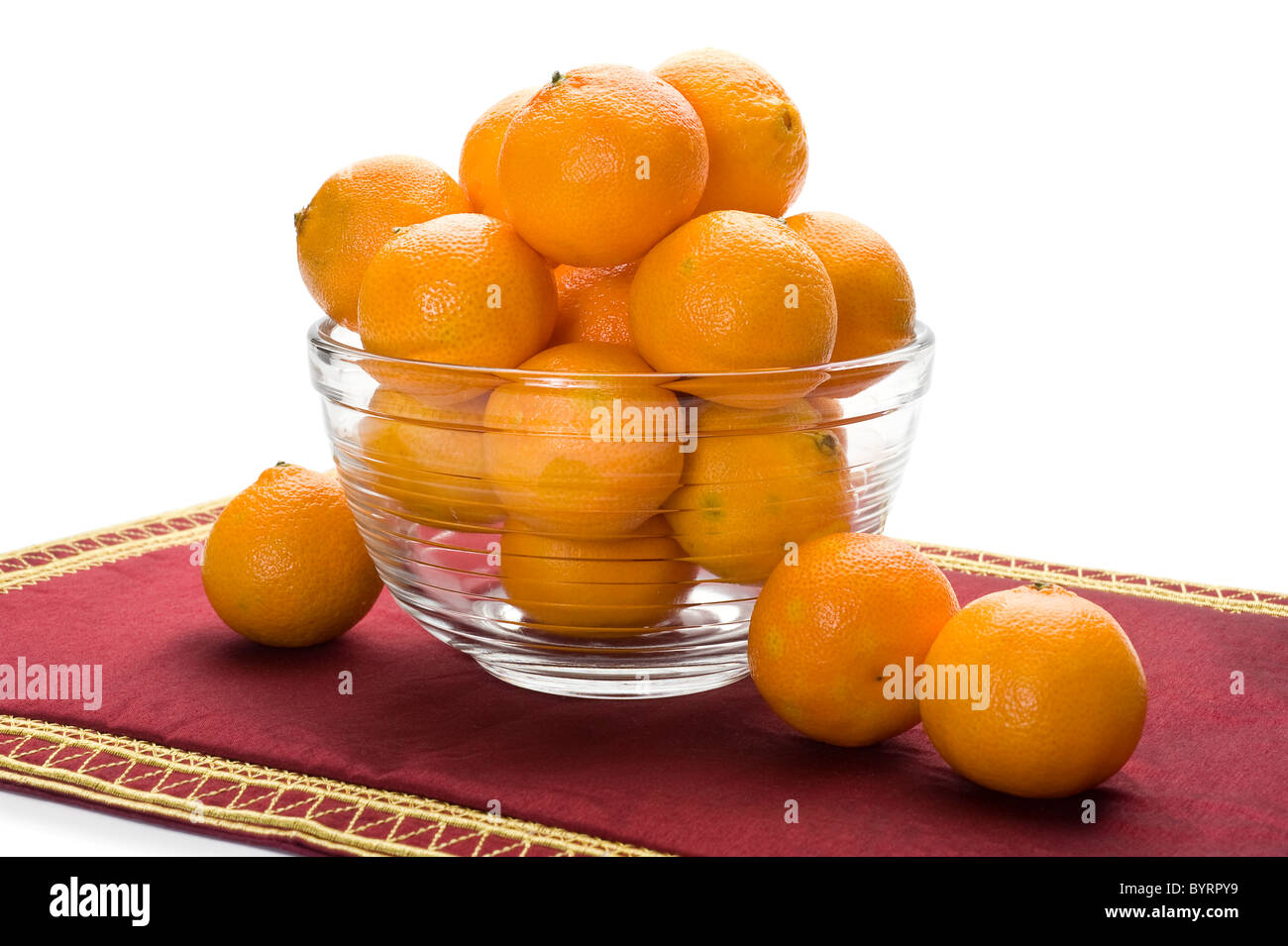 Jar full of oranges with white background Stock Photo