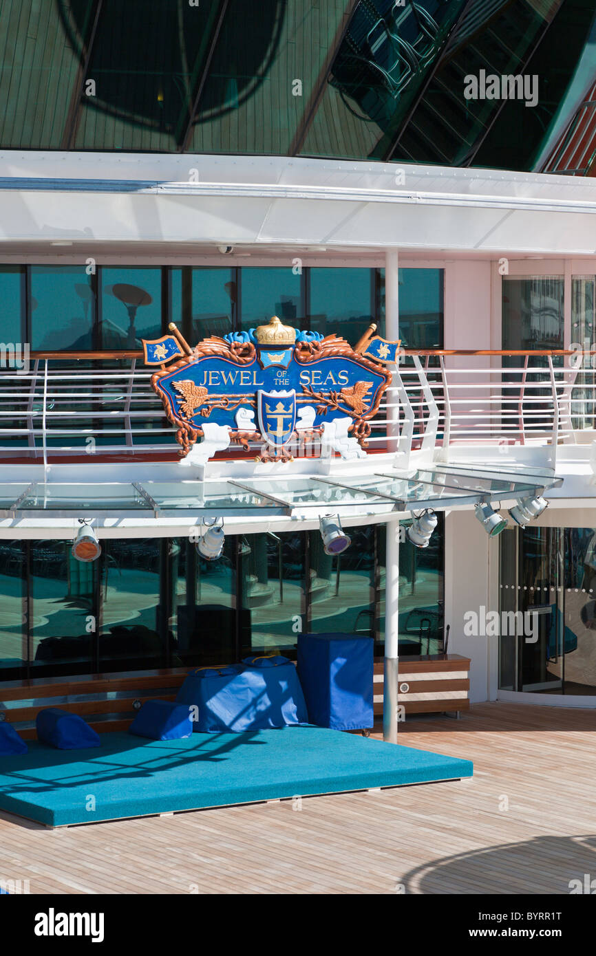 Sign on deck of Royal Caribbean's Jewel of the Seas cruise ship - Stock Image