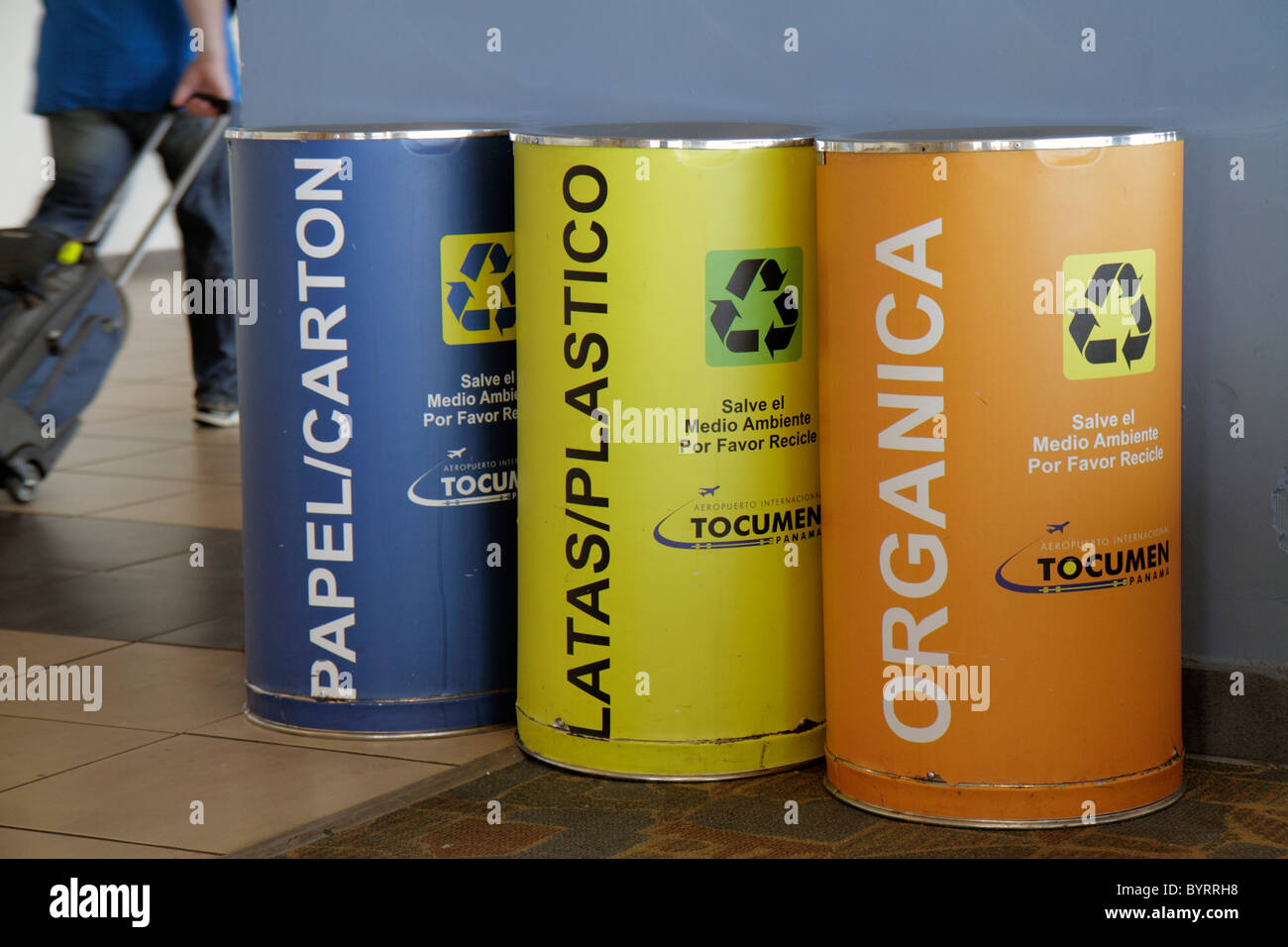 Panama City Panama Aeropuerto Tocumen airport PTY terminal recycling bins green movement paper plastic organic waste Stock Photo