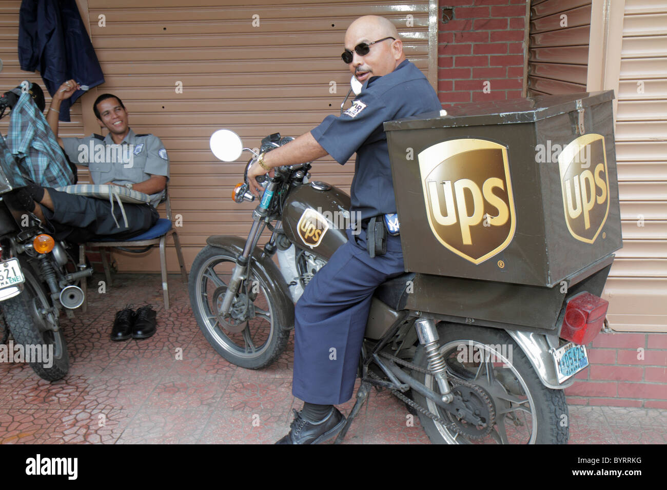 Panama City Panama Bella Vista UPS United Parcel Service courier package delivery shipping international company - Stock Image