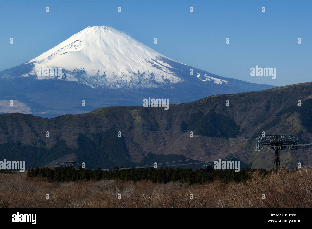 View of snow capped mount Fuji, Japan. early spring from Lake Ashi, Fuji-Hakone-Izu National Park. - Stock Image