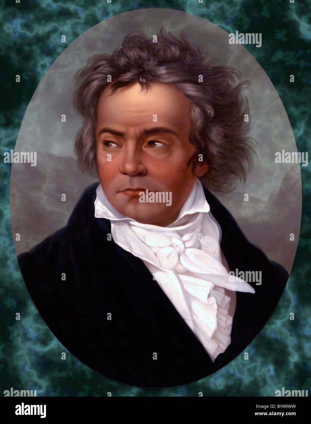 Ludwig Van Beethoven Portrait  on colorful, lively background - Stock Image