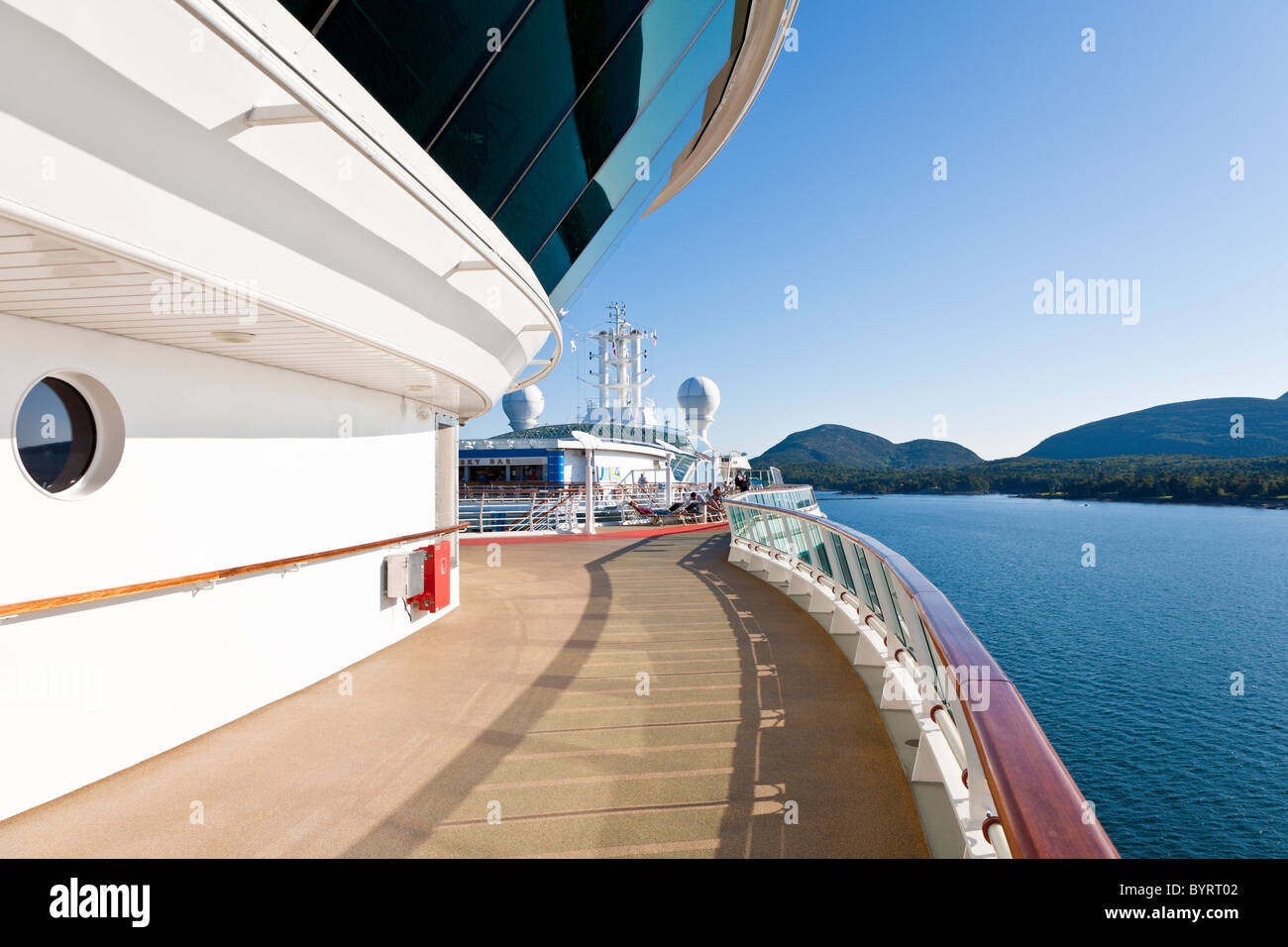 Deck of Royal Caribbean's Jewel of the Seas cruise ship at port in Bar Harbor, Maine - Stock Image