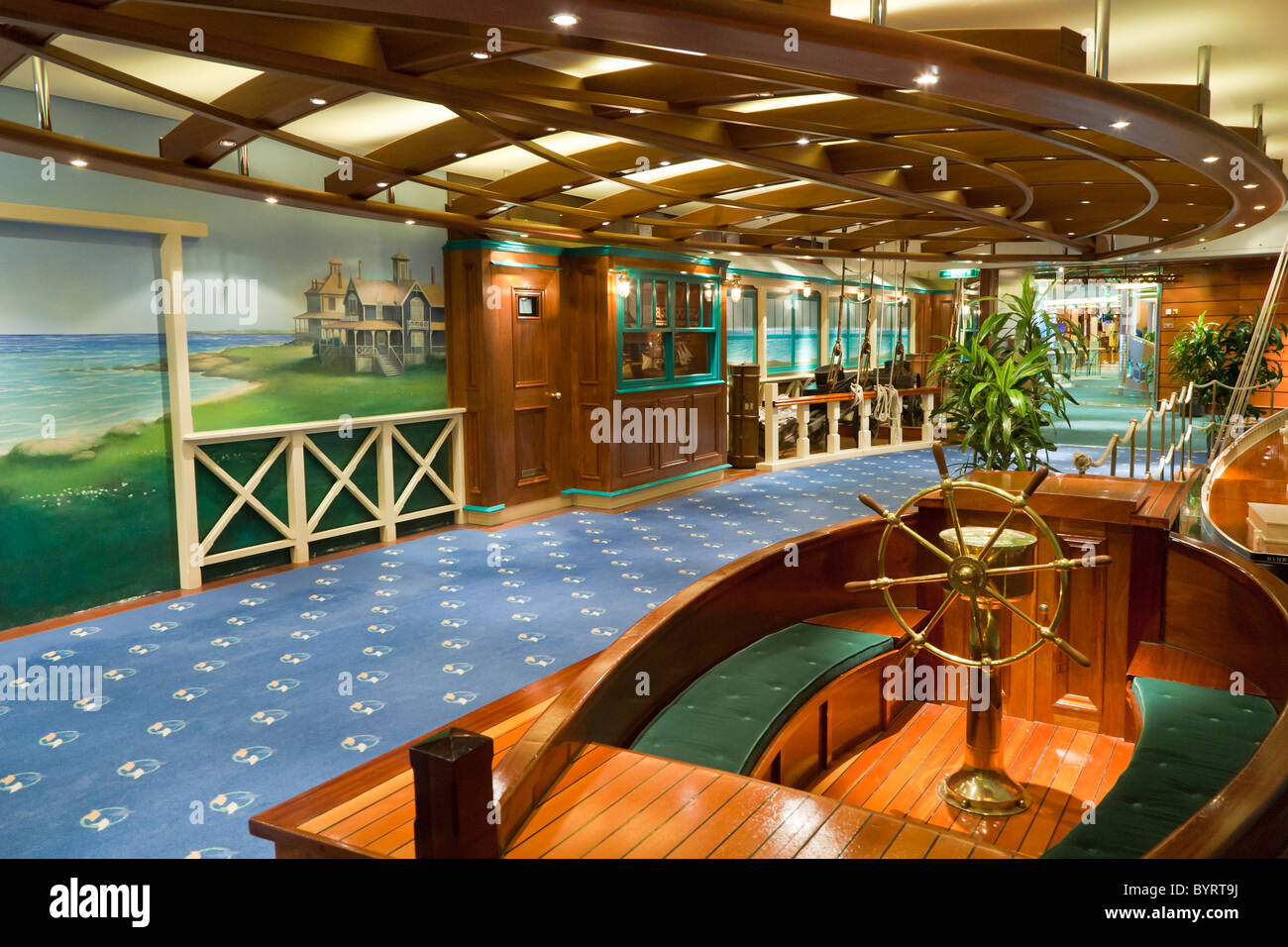 Interior of hallway in Royal Caribbean's Jewel of the Seas cruise ship. - Stock Image