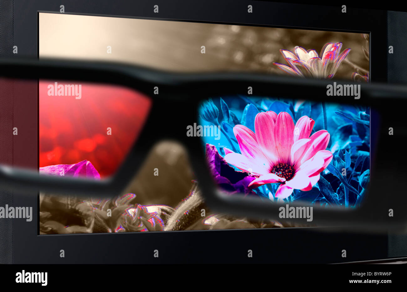 Glasses 3D in front of the TV with a flower. 3D television. - Stock Image
