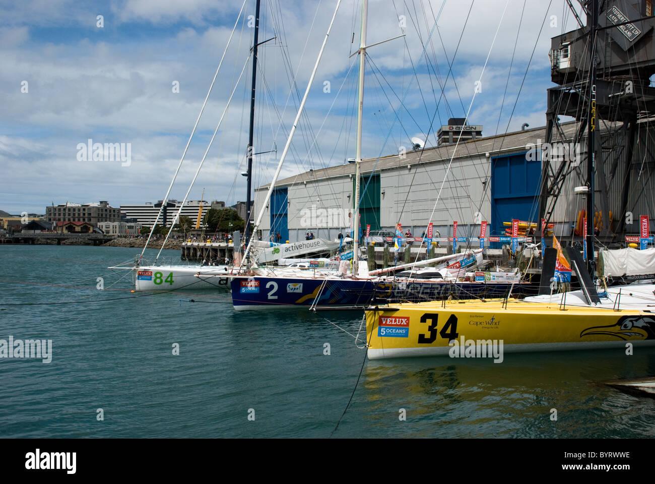 The Velux 5 Oceans Yacht Race Arrives in Wellington, Queen Wharf, Wellington, New Zealand - Stock Image