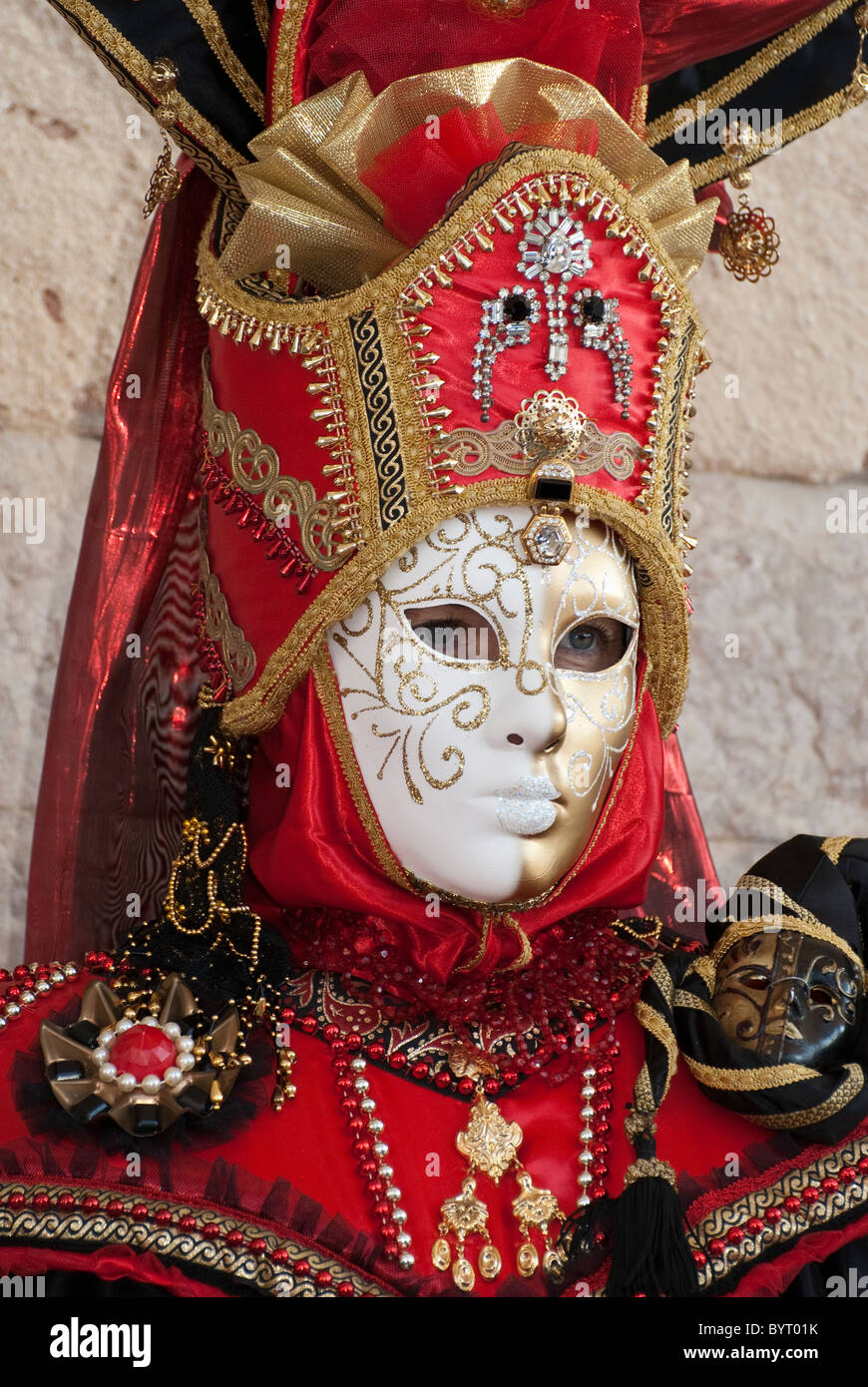 Single Venetian mask disguise during carnival - Stock Image