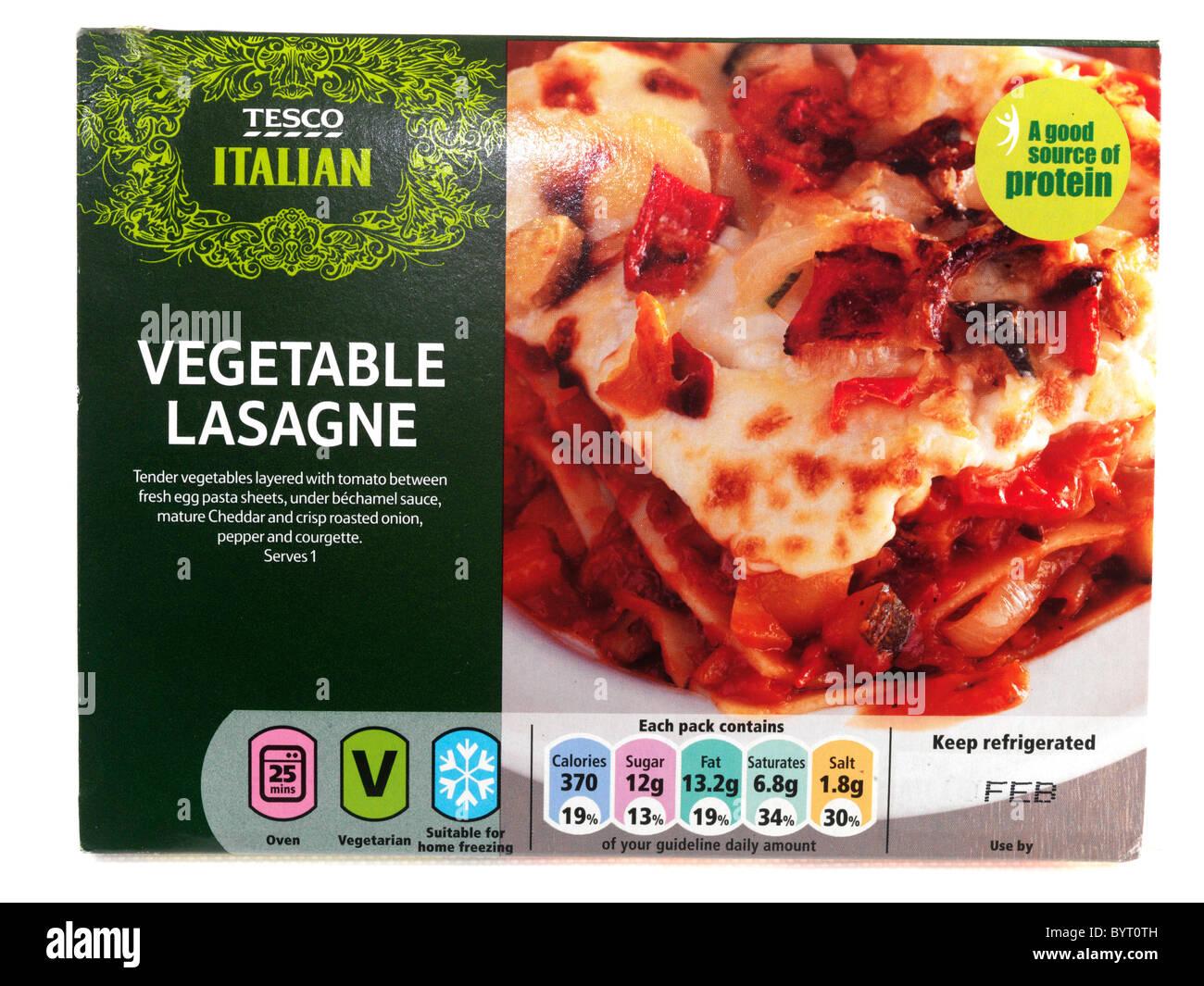 Tesco Vegetable Lasagne Pasta Meal Ready Italian Vegetarian