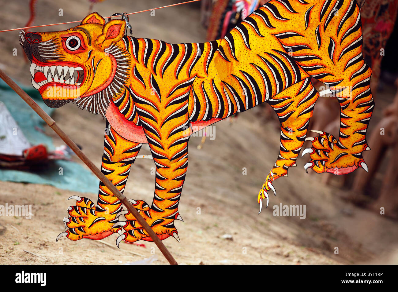 Tiger Painted Fabric Sale Handicraft Emporium Delhi India Sketch