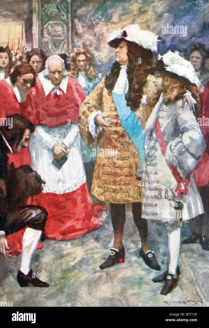 France's King Louis XIV is shown here introducing to the court his grandson, Philippe de France, also Duke of - Stock Image