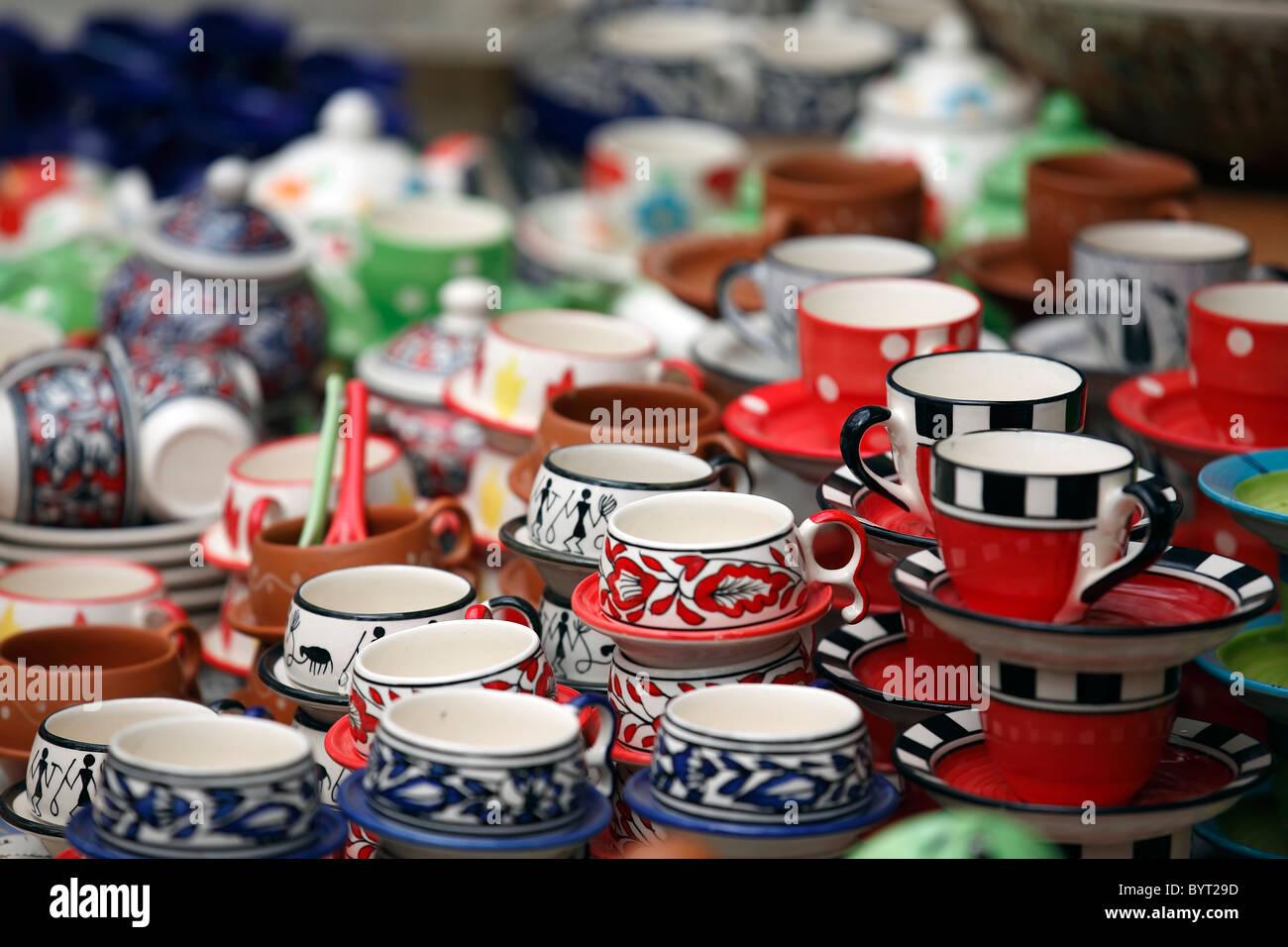 pots vessels handcraft mementos souvenir colorful - Stock Image