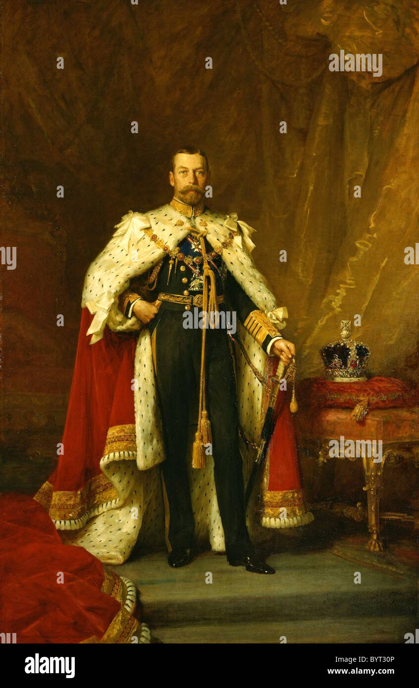 George V in coronation robes. - Stock Image