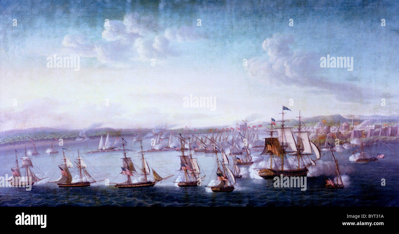 Bombardment of Tripoli by Commodore Preble's squadron, The Barbary Wars, 3 August 1804 - Stock Image