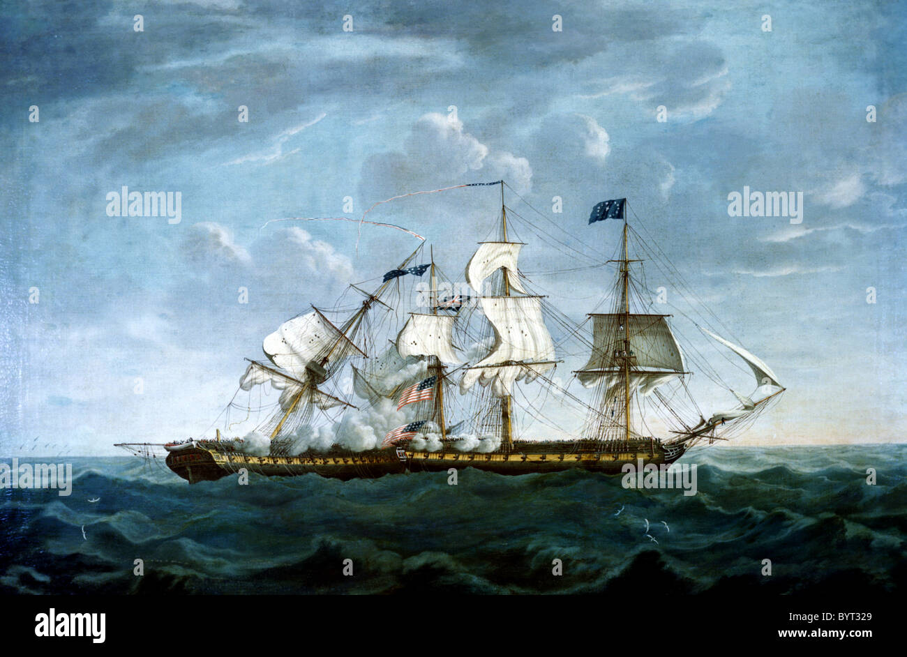 U.S. Frigate Constitution as she defeats HMS Guerriere during the War of 1812 against Great Britain. - Stock Image