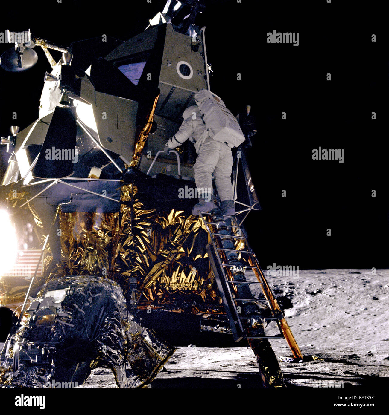 Alan L. Bean on the ladder of the Lunar Module during the Apollo 12 mission. - Stock Image