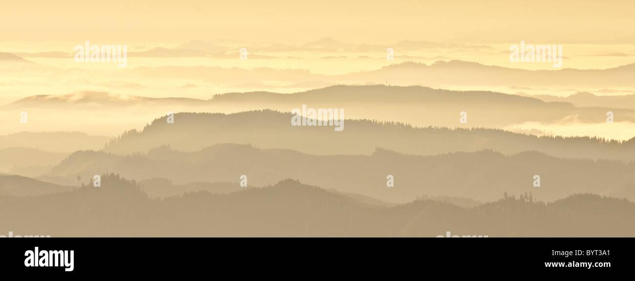 View from summit of Prairie Mountain, Coast Range Mountains, Lane County, Oregon. - Stock Image