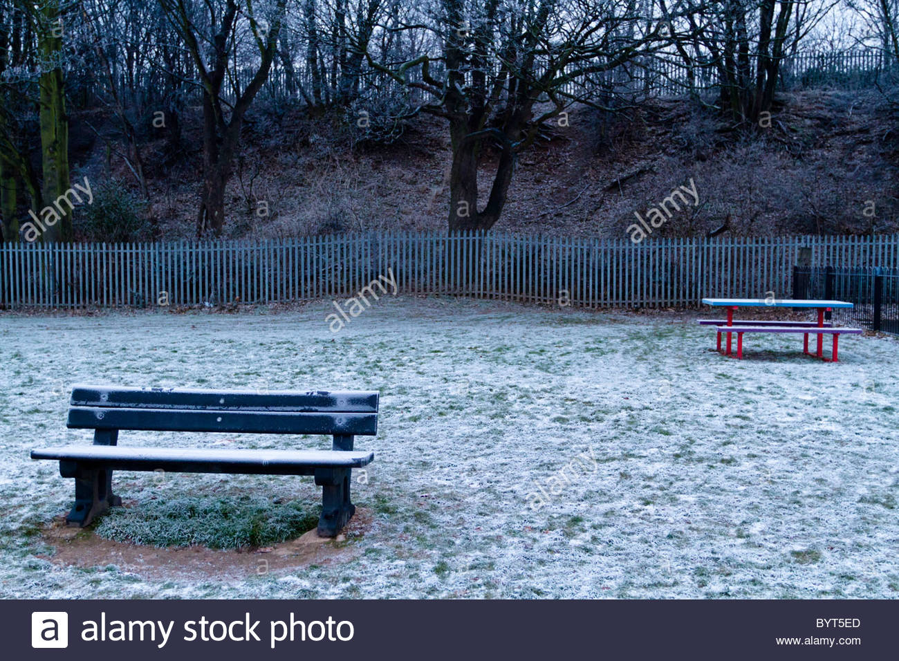 Miserable gloomy cold day in winter on a park, England, UK - Stock Image