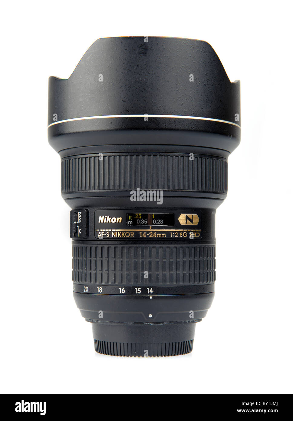 Nikkor 14-24mm f/2.8 ultra wide angle lens for Nikon cameras cutout on white background - Stock Image