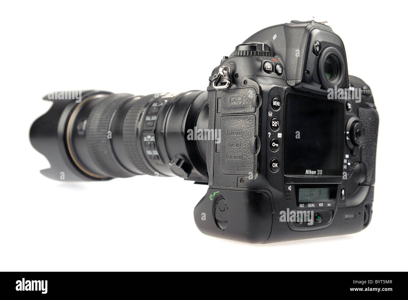 Rear view of a Nikon D3 digital camera with Nikkor 70-200mm 2.8 VR lens cutout on white background - Stock Image