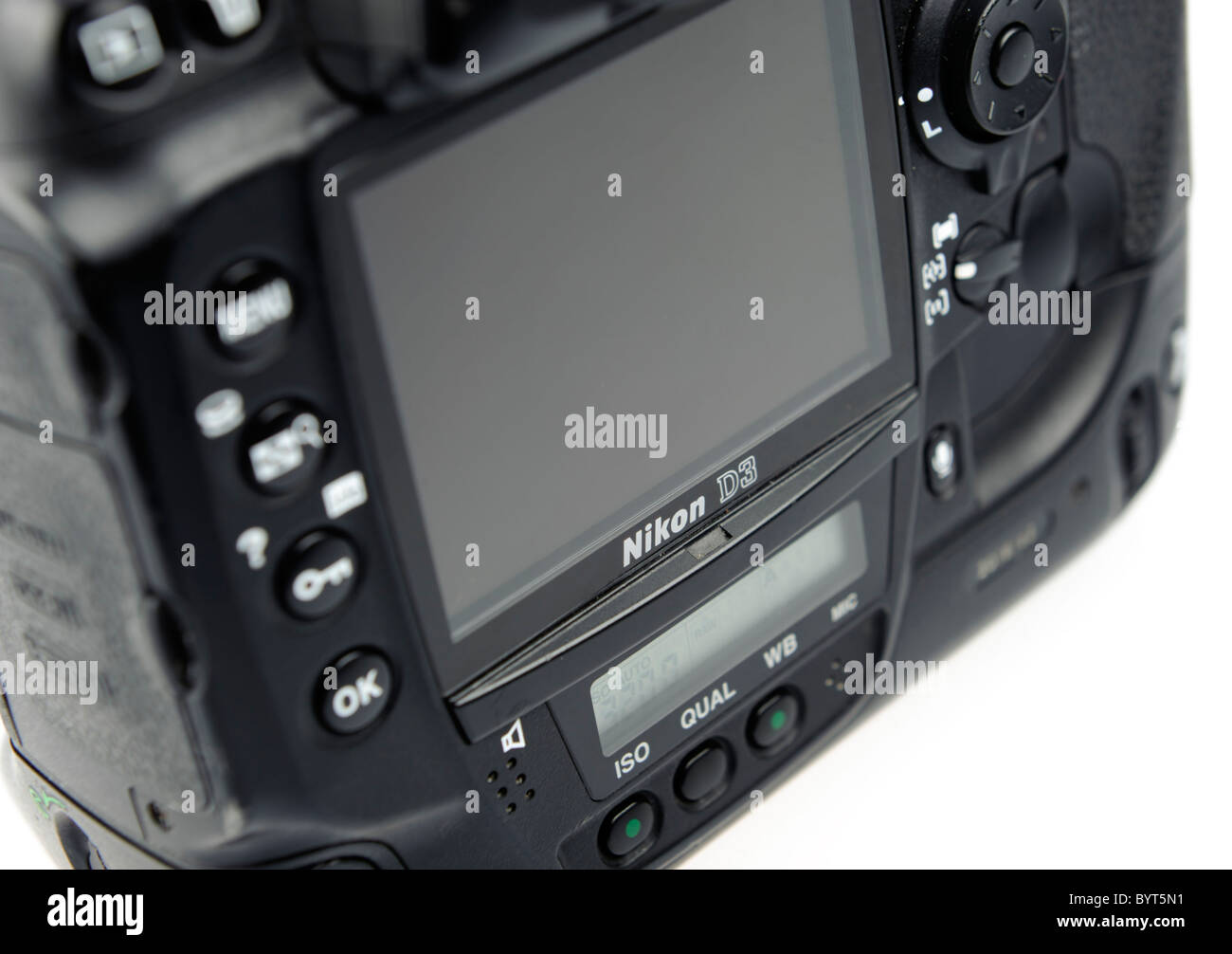 Detail shot of a Nikon D3 digital camera cutout on white background - Stock Image