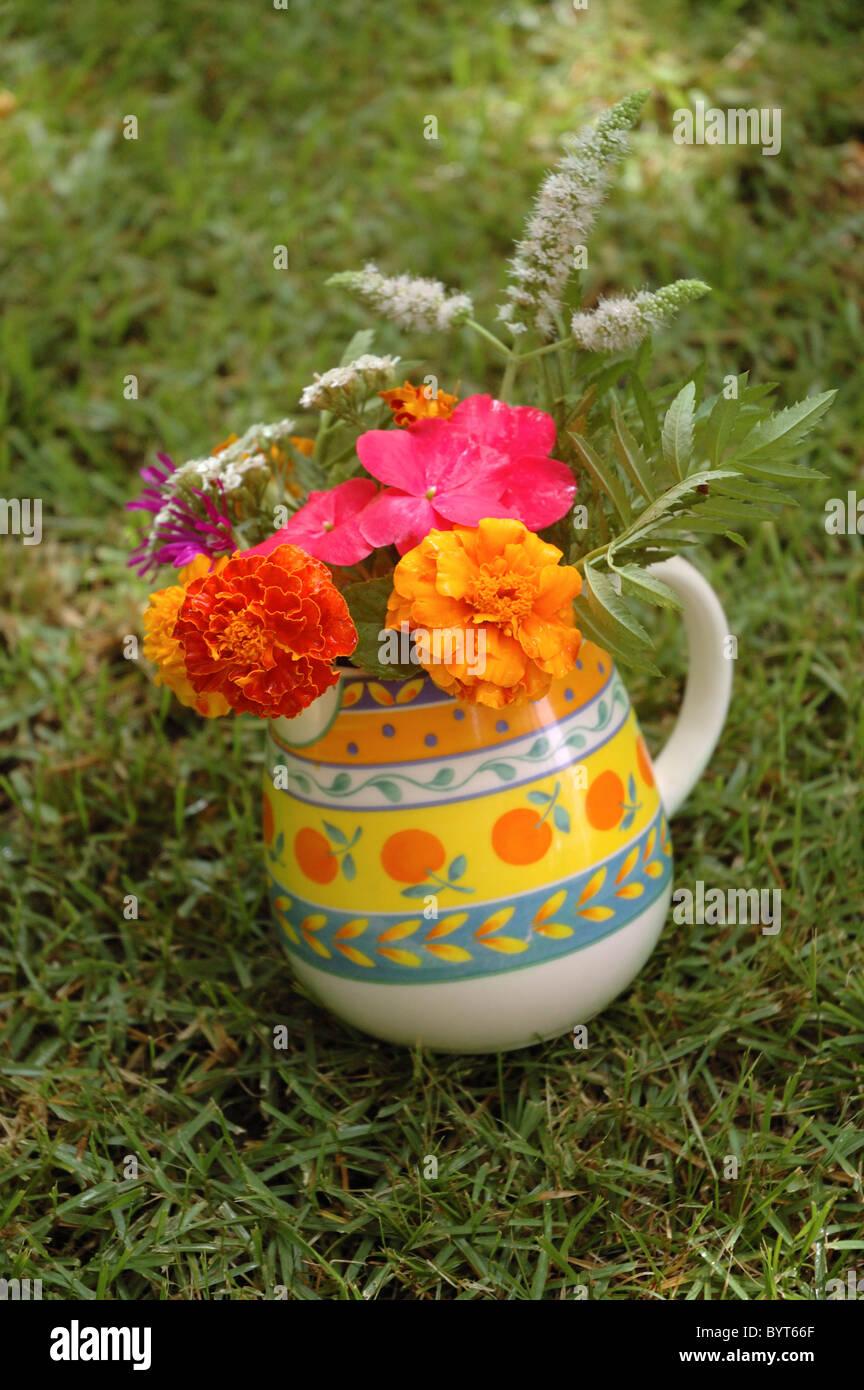 A Homemade Bouquet Of Flowers Made From Homegrown Garden Flowers
